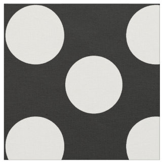 Black Fabric with Large White Polka Dots