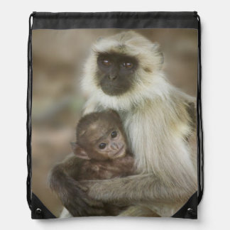 Black-face Langurs, mother with baby, in Drawstring Backpack