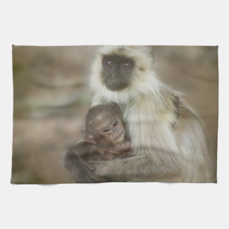 Black-face Langurs, mother with baby, in Hand Towel