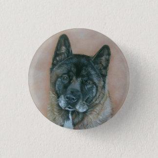 black faced akita realist art dog portrait pinback button