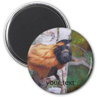Black-faced Lion Tamarin 2 Inch Round Magnet