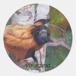 Black-faced Lion Tamarin Classic Round Sticker