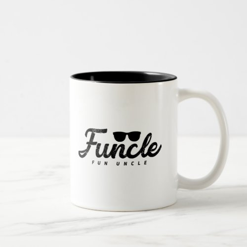 Black Fade letters Funcle Fun Uncle with eyeglass Two_Tone Coffee Mug