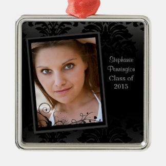 Black faded damask graduation photo ornament