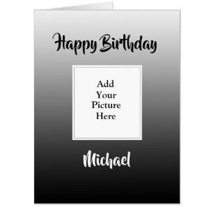 Black Faded Happy Birthday Add Your Photo Jumbo Card