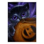 BLACK FAIRY KITTEN CAT HALLOWEEN PUMPKIN BASKET CARD
