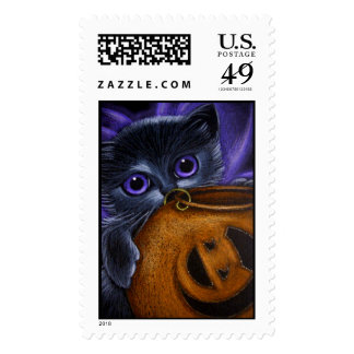 BLACK FAIRY KITTEN CAT HALLOWEEN PUMPKIN BASKET POSTAGE
