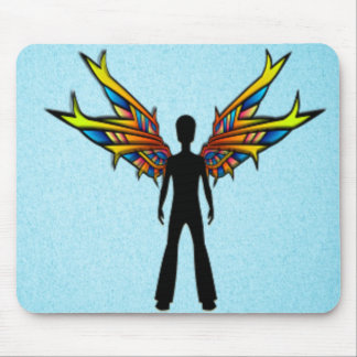Black Fairy with Stained Glass Wings Mouse Pad