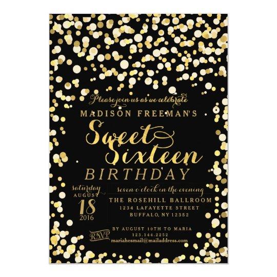 black fake gold foil confetti sweet 16 party invitation zazzle com