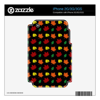 Black fall leaves iPhone 2G decals
