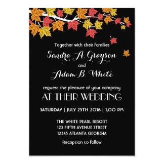 Black Falling Maple Leaves Wedding Invitation