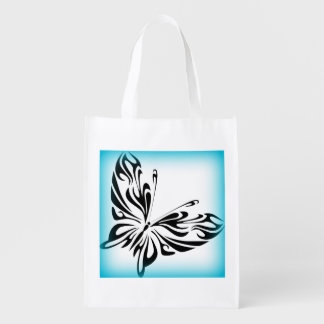 Black fancy Butterfly with Bright Blue Border Grocery Bag