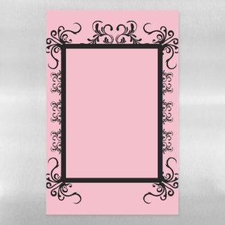 Black Fancy Frame on Pink Magnetic Dry Erase Sheet