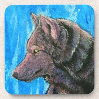 Black Fantasy Wolf Drink Coaster