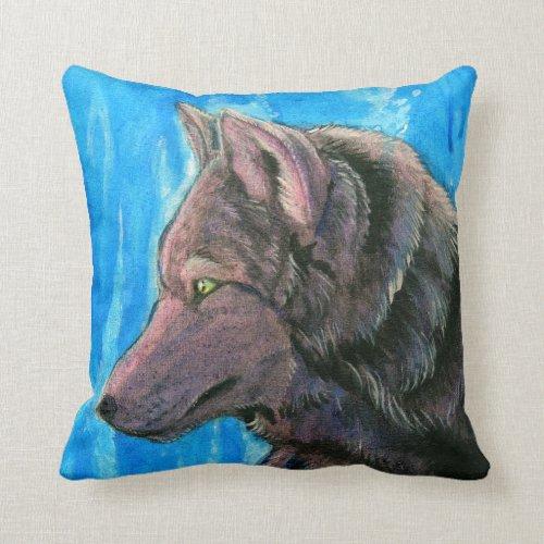 Black Fantasy Wolf on Blue Pillow