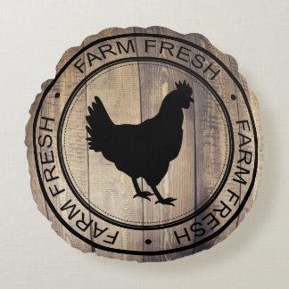 Black Farm Fresh Black Hen Farmhouse Label Round Pillow