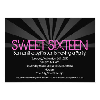 "Black Fashion Spotlight Sweet 16 Party Invitations 5"" X 7"" Invitation Card"