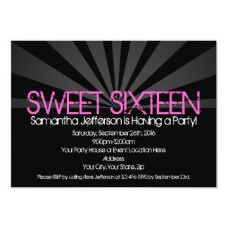 Black Fashion Spotlight Sweet 16 Party Invitations
