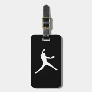 Black Fastpitch Silhouette Luggage Tag