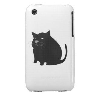 Black fat cat cartoon iPhone 3 case