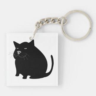 Black fat cat cartoon Double-Sided square acrylic keychain