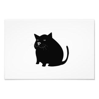 Black fat cat cartoon photo print