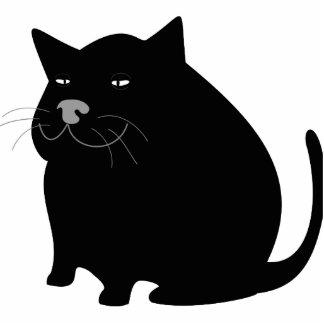 Black fat cat cartoon photo sculpture keychain