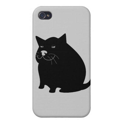 Black fat cat iPhone 4/4S cover