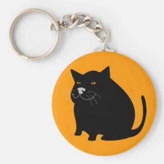 Black fat cat basic round button keychain