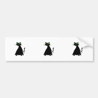 Black Fat Cat With Green Eyes Bumper Sticker