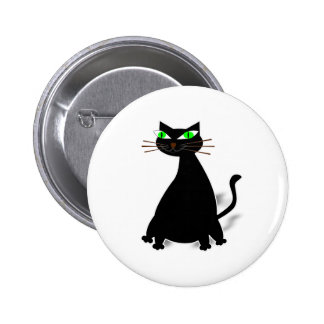 Black Fat Cat With Green Eyes Button