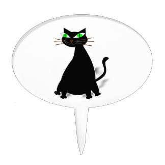 Black Fat Cat With Green Eyes Cake Topper