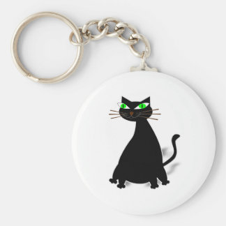 Black Fat Cat With Green Eyes Basic Round Button Keychain