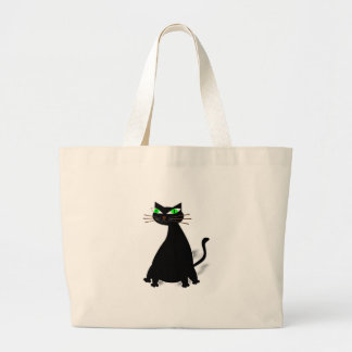 Black Fat Cat With Green Eyes Large Tote Bag