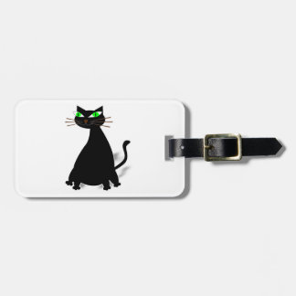 Black Fat Cat With Green Eyes Luggage Tag