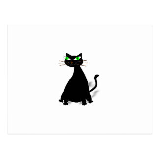 Black Fat Cat With Green Eyes Postcard