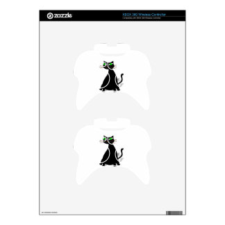 Black Fat Cat With Green Eyes Xbox 360 Controller Decal