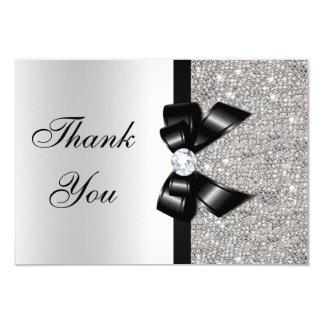 Black Faux Bow Silver Diamonds Thank You Card