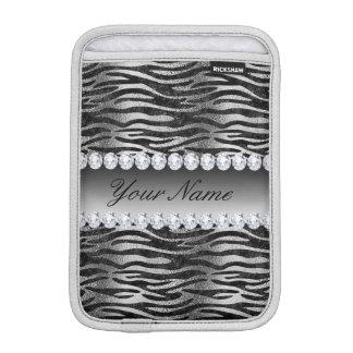 Black Faux Foil Zebra Stripes on Silver iPad Mini Sleeve