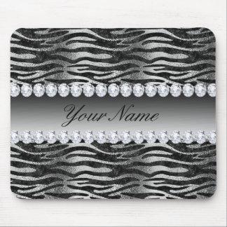 Black Faux Foil Zebra Stripes on Silver Mouse Pad