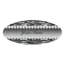 Black Faux Foil Zebra Stripes on Silver Name Tag