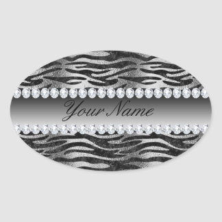 Black Faux Foil Zebra Stripes on Silver Oval Sticker