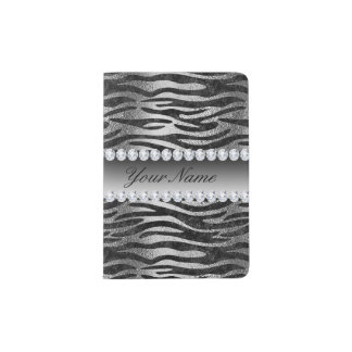 Black Faux Foil Zebra Stripes on Silver Passport Holder