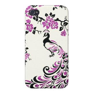 Black, faux fuchsia foil peacock & cherry blossoms iPhone 4/4S case