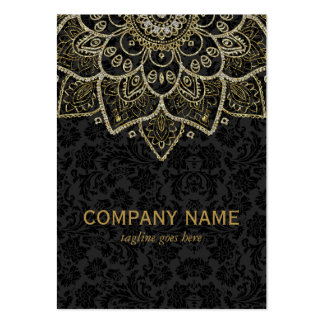 Black Faux Glitter And Gold Floral Mandala 2a Large Business Cards (Pack Of 100)