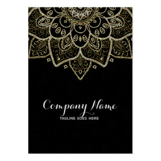 Black Faux Glitter And Gold Floral Mandala Large Business Card