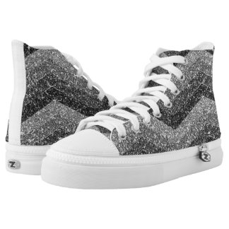 Black Faux Glitter Bling Chevron Ombre High-Top Sneakers