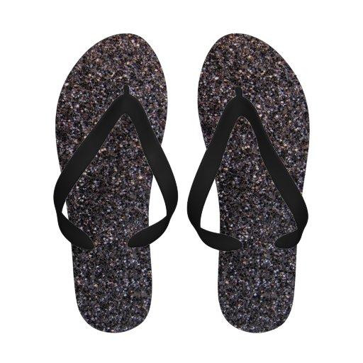 Black Faux Glitter Flip Flops