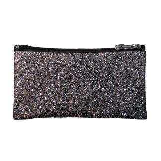 Black faux glitter graphic cosmetic bag