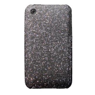 Black faux glitter graphic iPhone 3 case